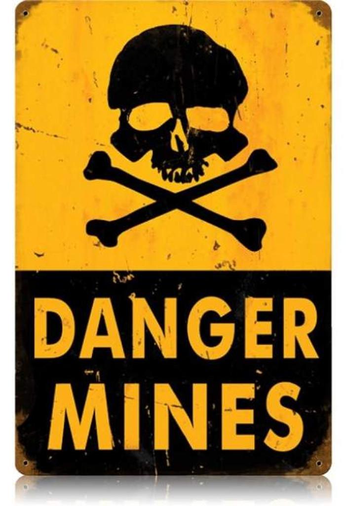 Vintage-Retro Danger Mines Metal-Tin Sign