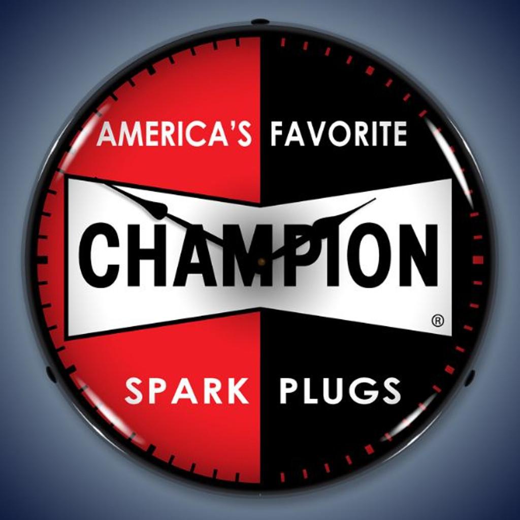 Vintage-Retro  Champion Spark Plugs Lighted Wall Clock