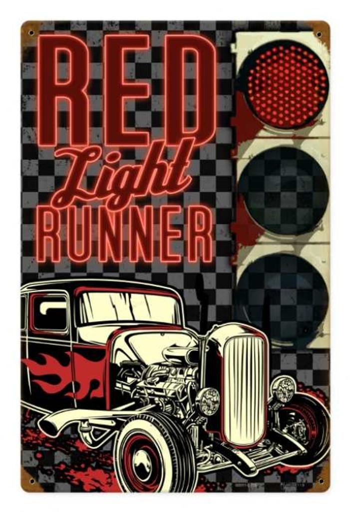 Retro Red Light Runner Metal Sign