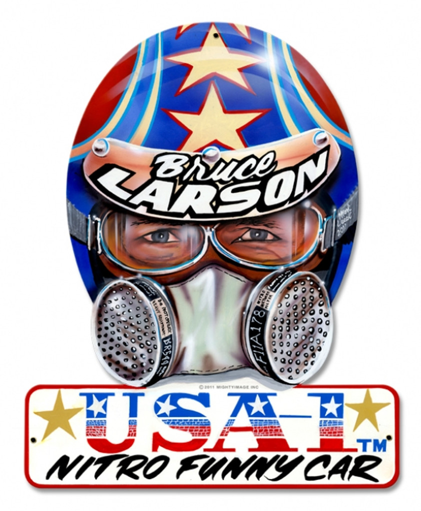 Vintage-Retro Bruce Larson USA Helmet Metal-Tin Sign