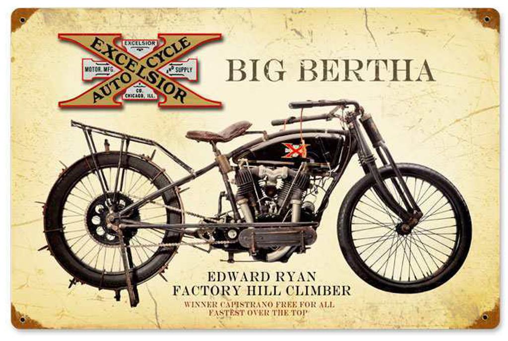 Retro Excelsior Big Bertha Metal Sign 18 x 12 Inches