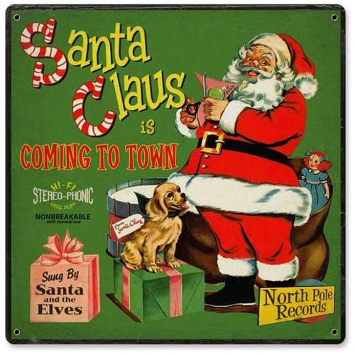 Vintage-Retro Santa Record Cover Metal-Tin Sign