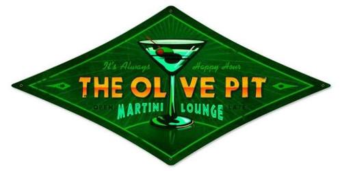 Vintage-Retro Olive Pit Diamond Metal-Tin Sign