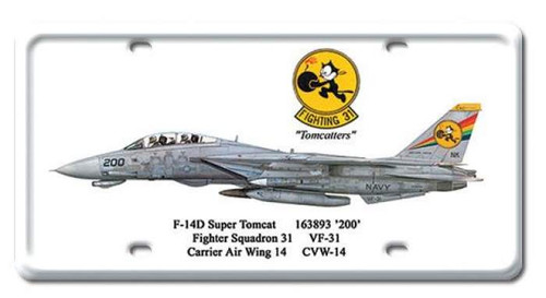 Vintage-Retro F-14D Super Tomcat License Plate