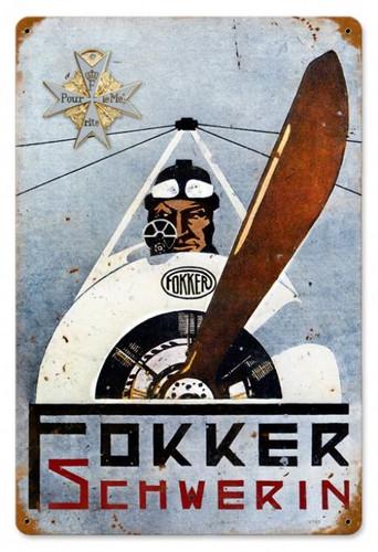 Vintage-Retro Fokker Schwerin Metal-Tin Sign