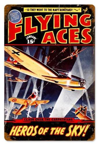 Vintage-Retro Flying Aces Metal-Tin Sign