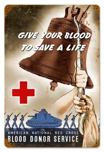 Vintage-Retro Red Cross Bell Metal-Tin Sign