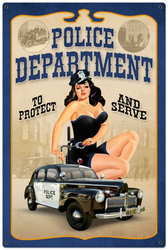Vintage-Retro Police Department Pinup Metal-Tin Sign