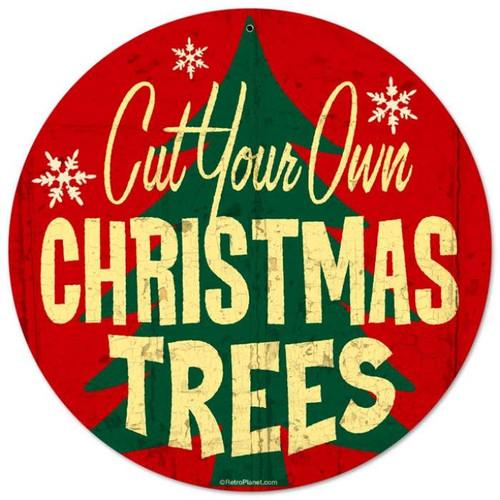 Vintage-Retro Christmas Trees Metal-Tin Sign