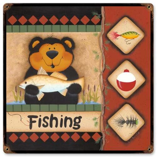 Vintage-Retro Fishing Bear Metal-Tin Sign