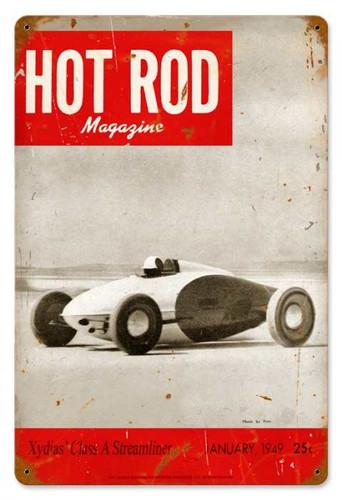 Vintage-Retro Hot Rod Magazine January 1949 Cover Metal-Tin Sign