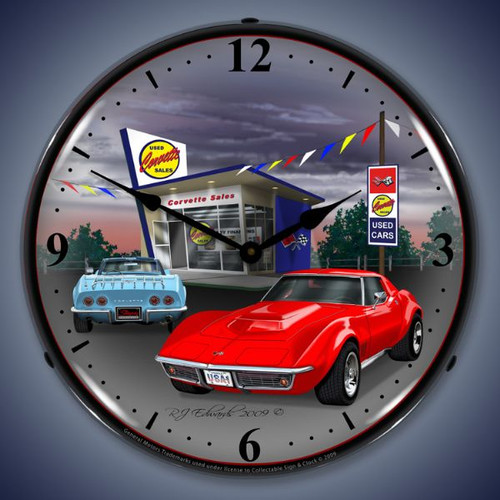 Vintage-Retro  1968 Corvette Lighted Wall Clock