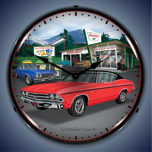 Vintage-Retro  1969 Chevelle Lighted Wall Clock