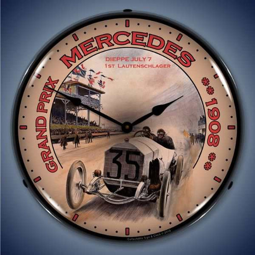 Vintage-Retro  Grand Prix Mercedes Lighted Wall Clock