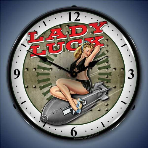 Vintage-Retro  Lady Luck Lighted Wall Clock