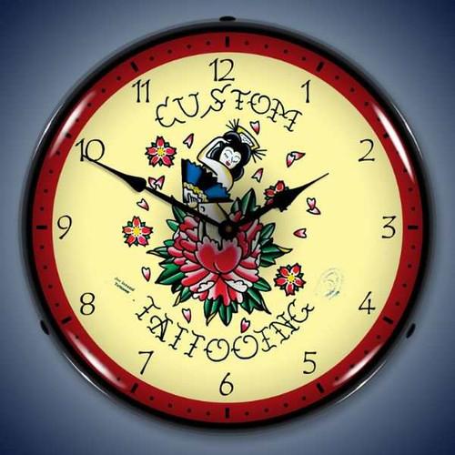 Vintage-Retro  Tattoo Rose Lighted Wall Clock