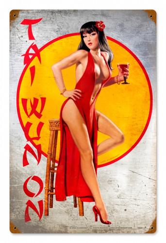 Vintage-Retro Tai Wun On - Pin-Up Girl Metal Sign -