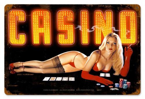 Vintage-Retro Red Light Casino Metal-Tin Sign