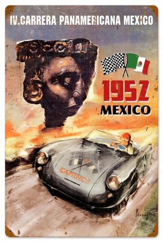 Vintage-Retro Panamericana Mexico Metal-Tin Sign 16 x 24 Inches