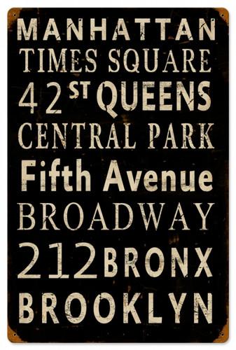 Vintage New York Streets Tin Sign