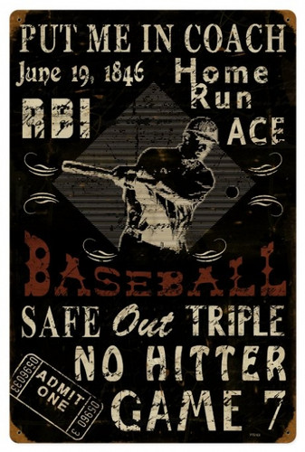 Vintage  Baseball Metal Sign