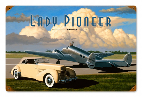 Retro Lady Pioneer Tin Sign 18 x 12  Inches