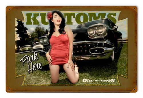 Vintage-Retro Kustoms Park Here Metal-Tin Sign
