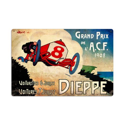 Retro Dieppe Grand Prix Tin Sign 24 x 16 Inches