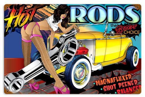 Retro Rat Rod Hot Rods Tin Sign 18 x 12 Inches