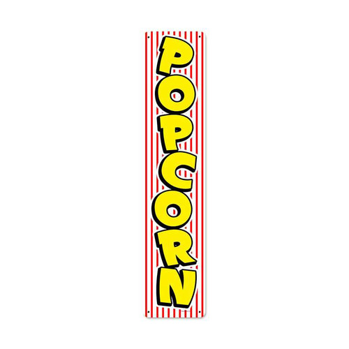 Retro Popcorn Stripe Metal Sign 28 x 6 Inches