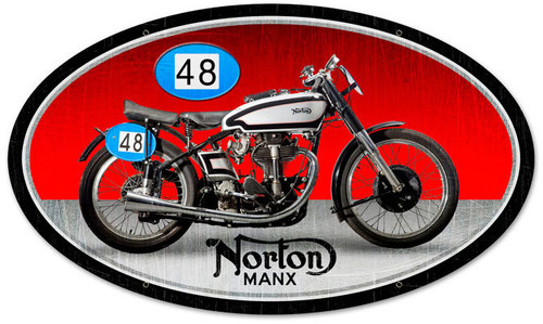 Retro Norton Manx Metal Sign 24 x 14 Inches