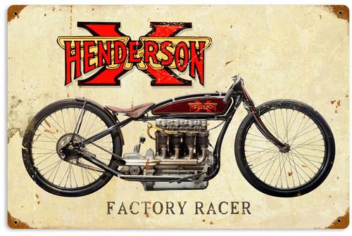Retro Henderson X Metal Sign 18 x 12 Inches