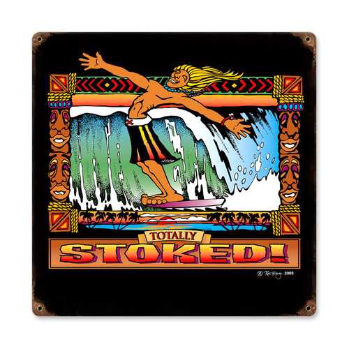Retro Stoked Metal Sign 12 x 12 Inches