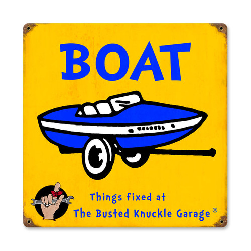 Retro Kids Boat Metal Sign 12 x 12 Inches