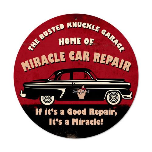 Retro Miracle Car Repair Round Metal Sign  14 x 14 Inches