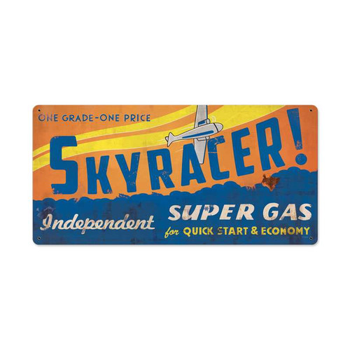 Retro Sky Racer Metal Sign  24 x 12 Inches