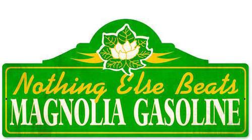Retro Magnolia Gas Metal Sign  26 x 12 Inches
