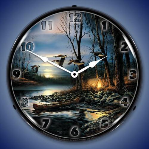 Evening Glow Lighted Wall Clock
