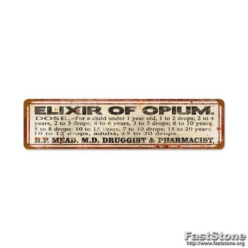 Retro Elixer of Opium Vintage Metal Sign 20 x 5 Inches
