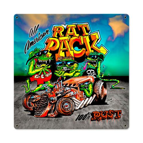 Retro Rat Pack Metal Sign 18 x 18 Inches