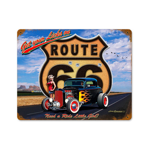 Retro Get Your Licks  Metal Sign 15 x 12 Inches
