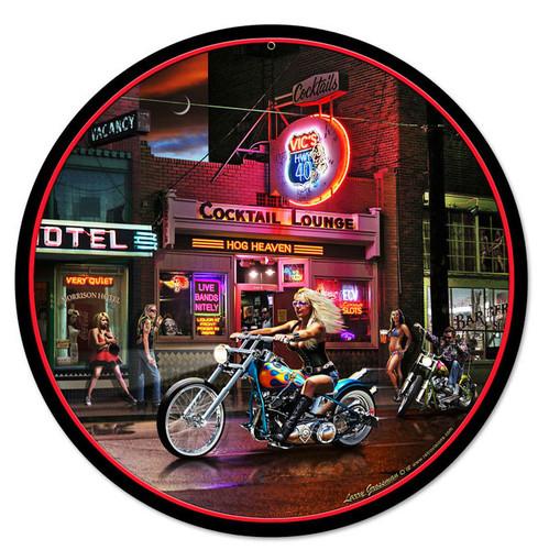 Retro Biker Bar Round Metal Sign 14 x 14 Inches