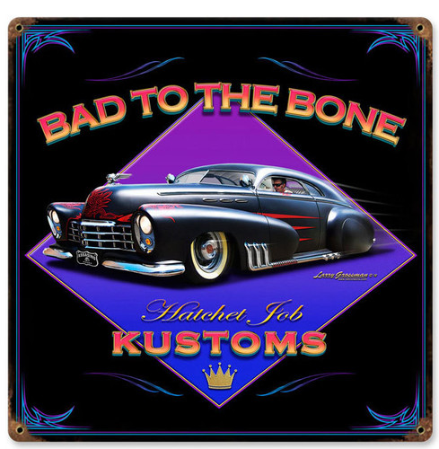 Retro Bad to the Bone  Metal Sign 12 x 12 Inches