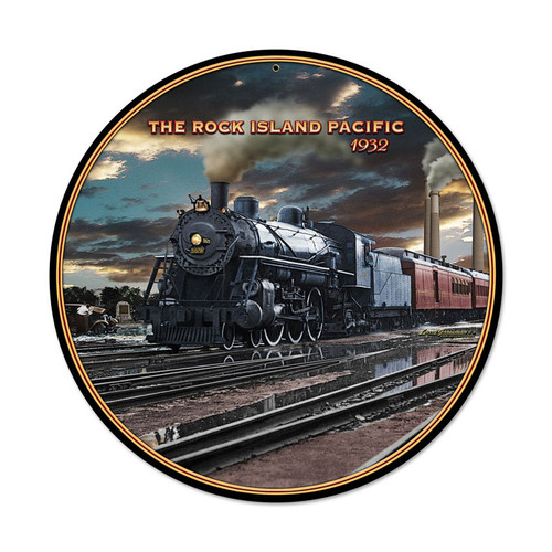 Retro Rock Island Round Metal Sign 14 x 14 Inches