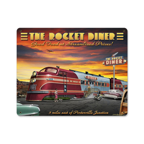 Rocket Diner Metal Sign  15 x 12 Inches