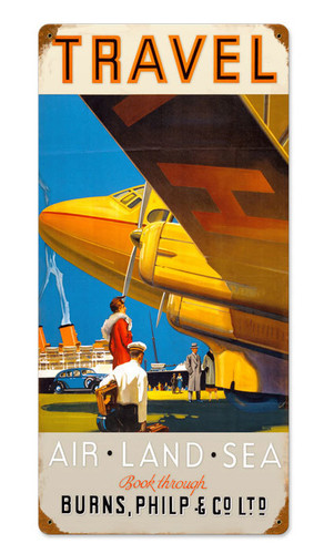 Retro Travel Air Land Sea  Metal Sign 12 x 24 Inches