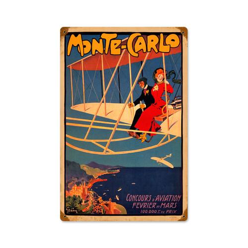 Retro Monte Carlo Aviation  Metal Sign 12 x 18 Inches