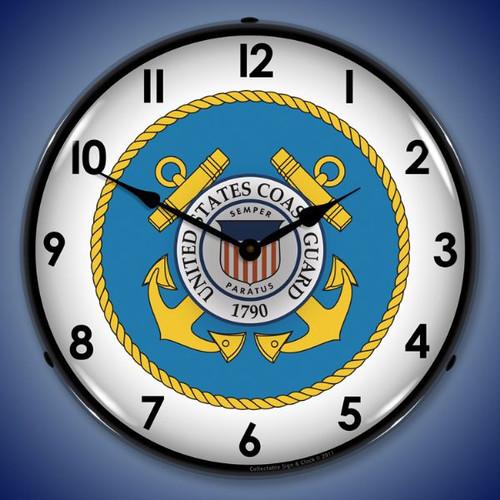 Retro US Coast Guard Lighted Wall Clock