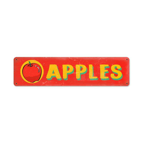 Retro Apples Metal Sign 20 x 5 Inches