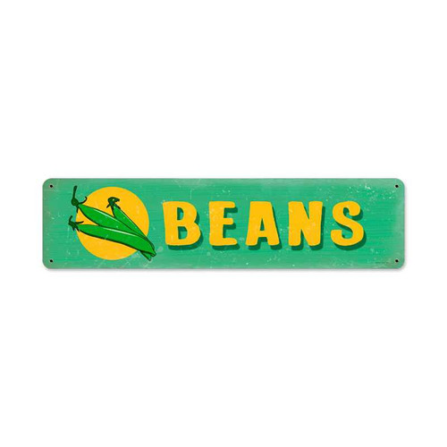 Retro Beans Metal Sign 20 x 5 Inches